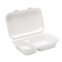 Bagasse Clamshell  2 Compartment Meal Box